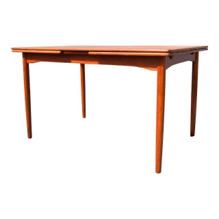 Vintage Danish Modern Teak Dining Table With Leaves