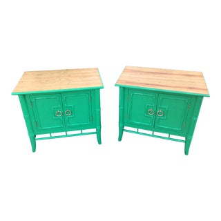 Vintage Thomasville Faux Bamboo Green Nightstands - A Pair