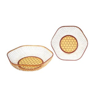 Vintage Woven Reed Japanese Baskets - A Pair