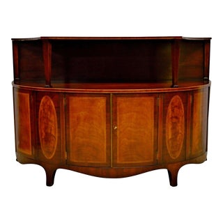 Baker Mahogany Demilune Inlaid Commode