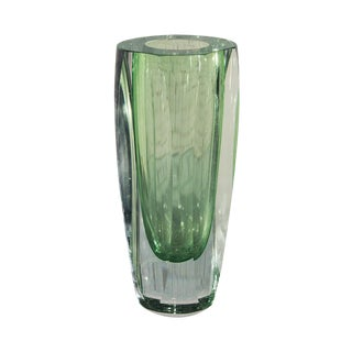 Vintage Green Faceted Murano Vase