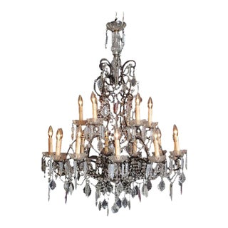 19th Century Italian 18-Light Crystal Chandelier