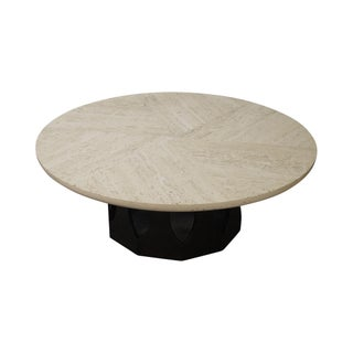 Harvey Probber Round Travertine Top Coffee Table