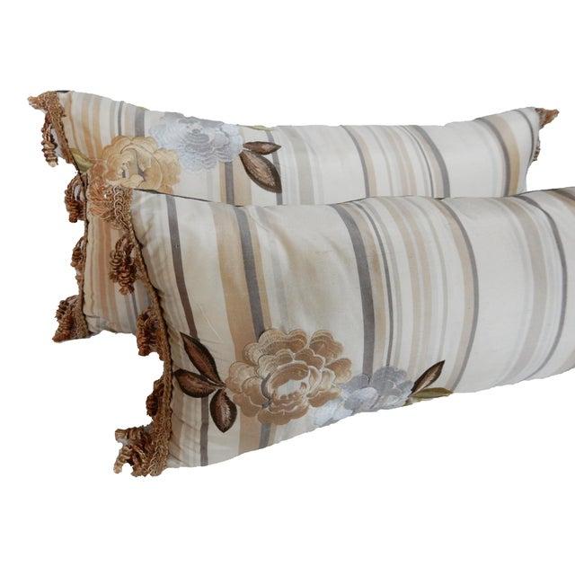 Custom Made Silk Lumbar Pillows - A Pair - Image 5 of 9