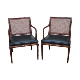 Mahogany Faux Bamboo Cane Back Arm Chairs- A Pair