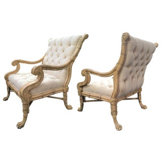 Maitland Smith Bamboo Claw Foot Chairs - Pair