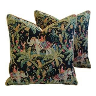 Custom English Tapestry Jungle Paradise Pillows - a Pair