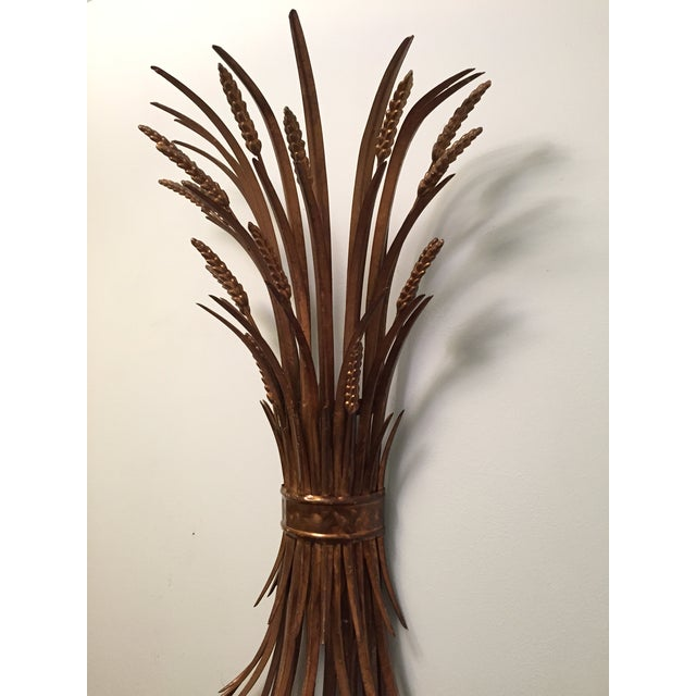 Vintage Gold Gilt Wheat Sheaf Wall Sconce - Image 4 of 7