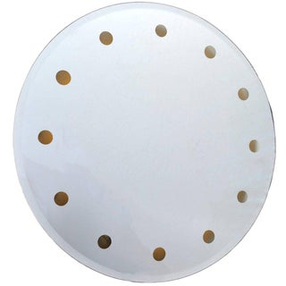 Mid-Century Modern Venetian Round Dotted Glass Mirror Backlit