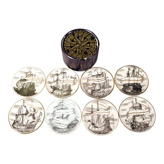 "Piero Fornasetti Velieri ""Tall Ship"" Coasters- Set of 8"