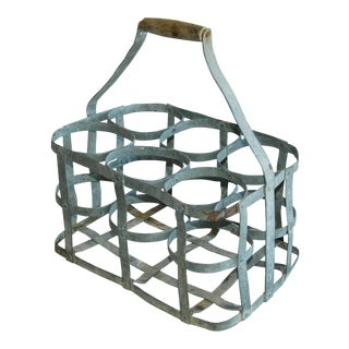 1930s French Gray Porte Bouteille Zinc 6-Bottle Wine Carrier