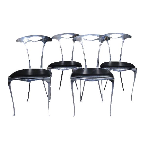 Polished Aluminum & Leather Thinline Chairs - Set of 4 - Image 1 of 4