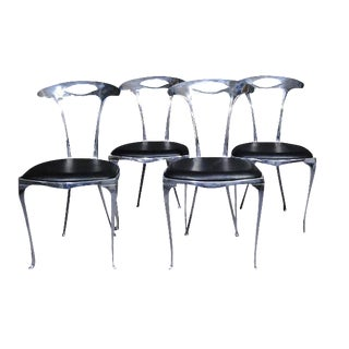 Polished Aluminum & Leather Thinline Chairs - Set of 4