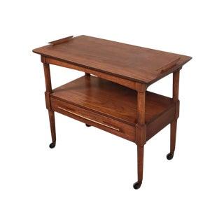 Mid-Century Modern Walnut Two-Shelf Buffet Cart
