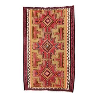 Circa 1950's Turkish Red & Orange Kelim - 5′8″ × 9′