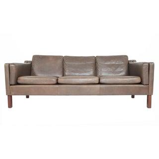 Vemp Polstermøbelfabrik Danish Modern Brown Leather Sofa