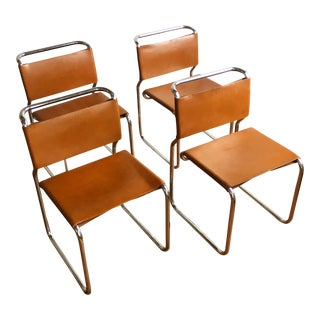 Vintage Oiled Leather & Chrome Cantilever Chairs by Nicos Zographos - Set of 4