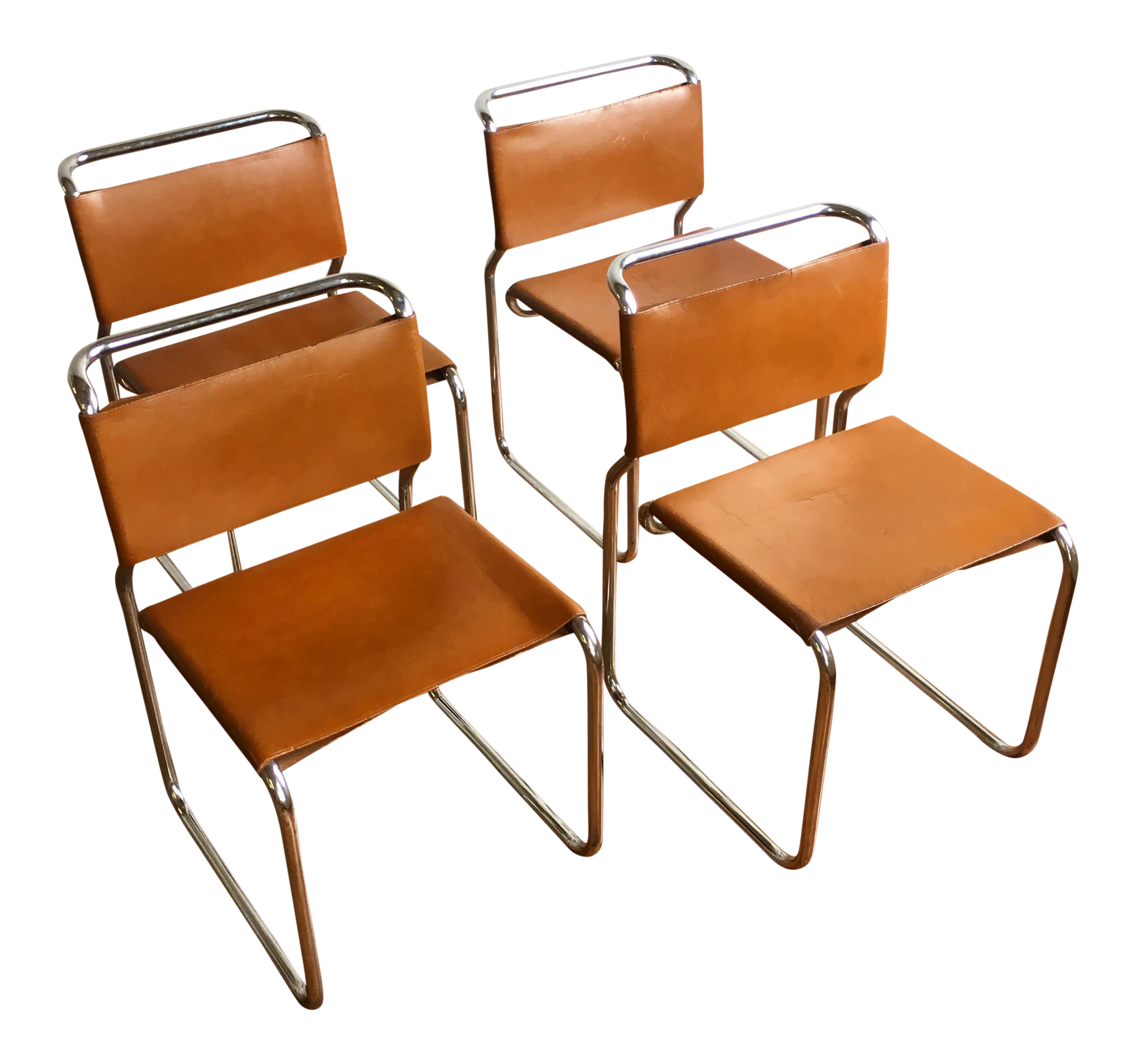 Vintage Oiled Leather U0026 Chrome Cantilever Chairs By Nicos Zographos   Set  ...