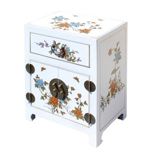Chinese Off White Flower Birds End Table Nightstand