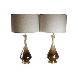 Mid-Century Modern Ceramic Drip-Glaze Lamps - a Pair