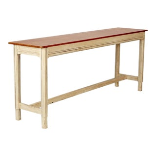 French Pine Top Console With Painted Base