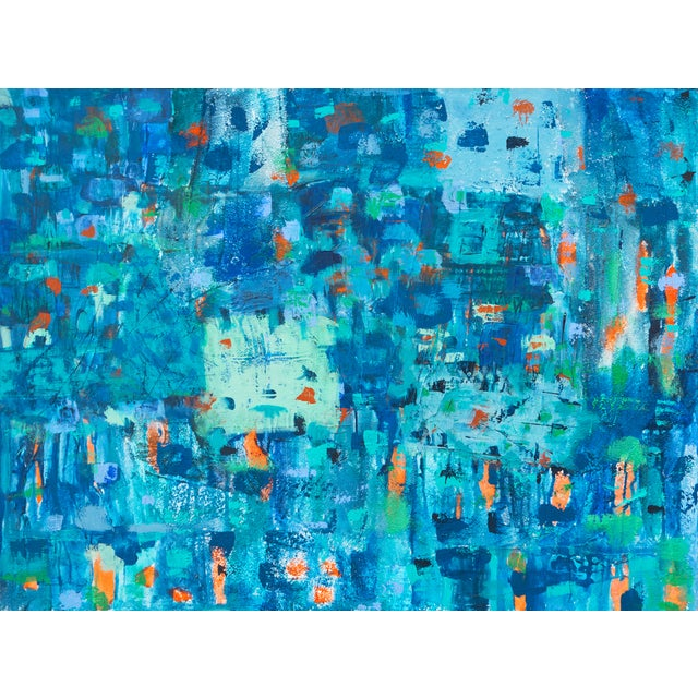 Large Blue & Coral Abstract - Image 1 of 6