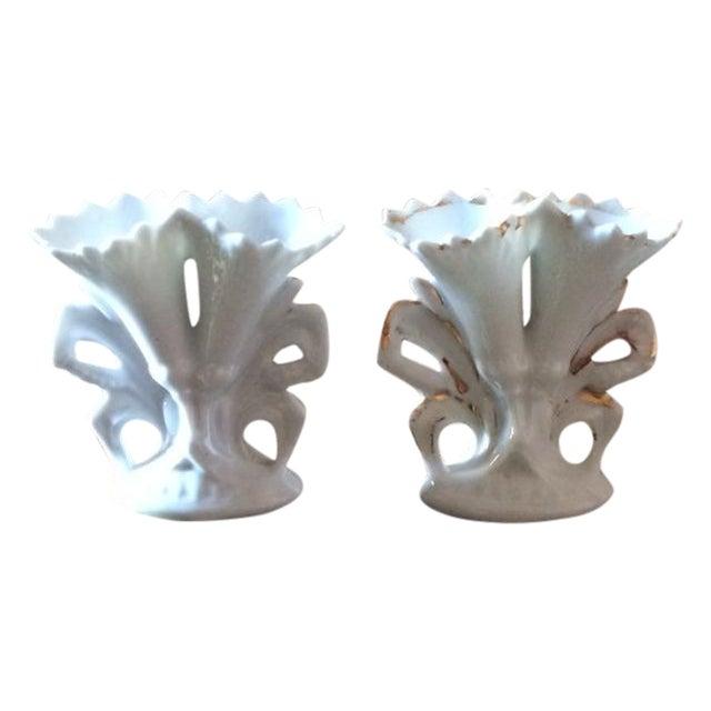 Image of Antique 1880s Vieux Paris Wedding Vases - A Pair