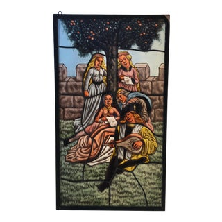 Mid 20th Century Jose De La Silva Stained Glass Minstrel Panel