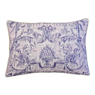 "26"" X 18"" Lavender & White Italian Fortuny Mazzarino & Velvet Feather/Down Pillow"