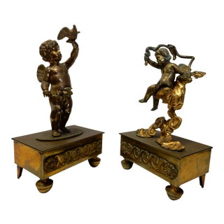 Bronze Angel Mounted Figurines - a Pair