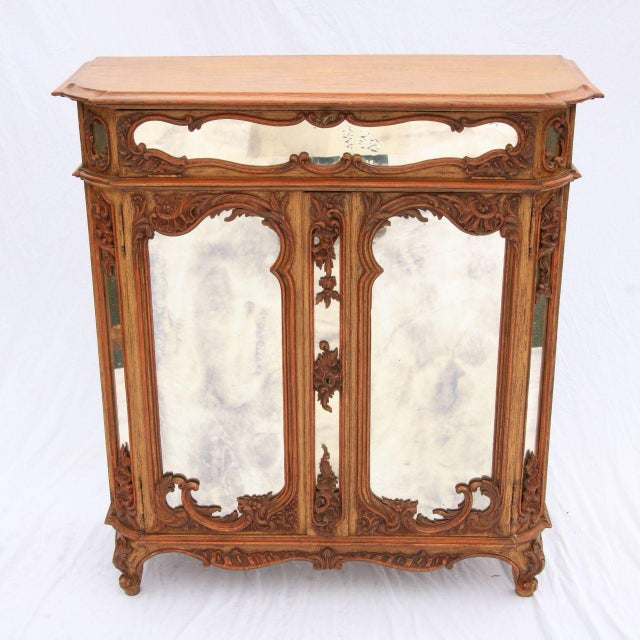 Louis XV Mirrored & Carved Oak Cabinet - Image 2 of 11