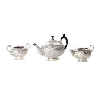 Anglo-Indian Three-Piece Sterling Silver Tea Set