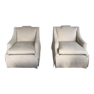 Light Gray Swivel Chairs - A Pair