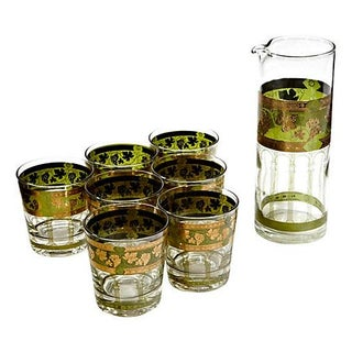 1960's Green & Gilt Grape Beverage Set - Set of 8