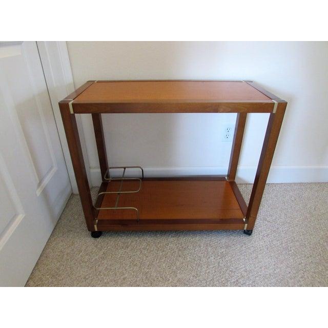 Mid Century Wood & Brass Bar Cart - Image 2 of 10