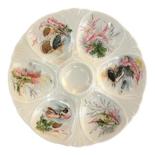 French Limoges Hand Painted Oyster Plate