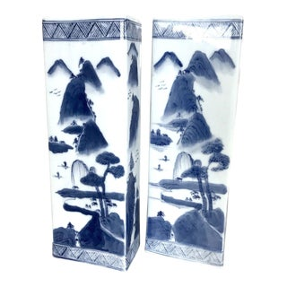 Oriental Blue & White China Hat Stands / Decorative Accent Pillars