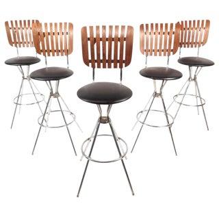 Mid-Century Modern Swivel Bar Stools - Set of 5