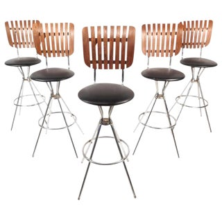 Mid-Century Modern Swivel Bar Stools - Set of 5