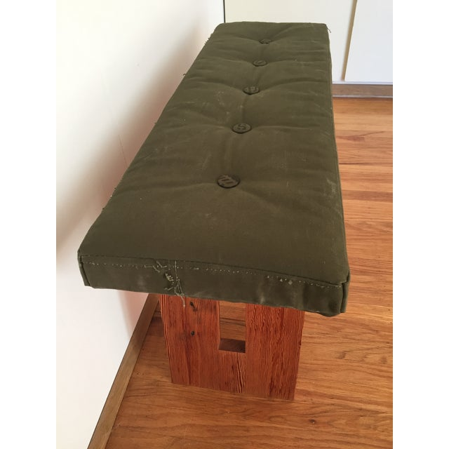 Bench with Vintage Army Upholstery - Image 4 of 7