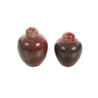 19th Century Chinese Red Flambe Porcelain Apple Urns - A Pair