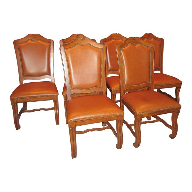 Stanley Leather Dining Chairs - Set of 6 - Image 1 of 11