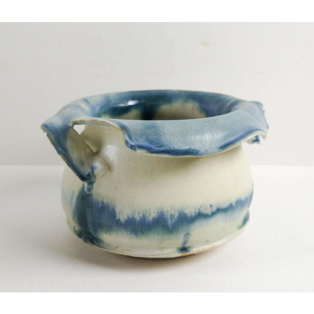 Studio Pottery Hand Thrown Teal & White Vase - Image 2 of 7