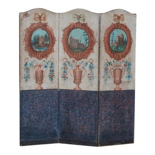 Antique French Painted Screen Paravent circa 1880