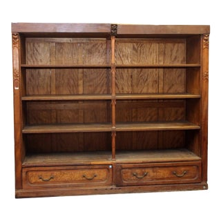 Art Nouveau Large Carved Display Case or Haberdashery