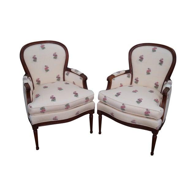 Kravet Mahogany French Louis XVI Chairs - Pair - Image 1 of 10