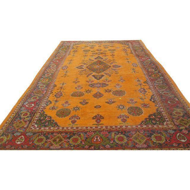 Antique Persian Orange/Green Oushak Style Rug - Image 3 of 9