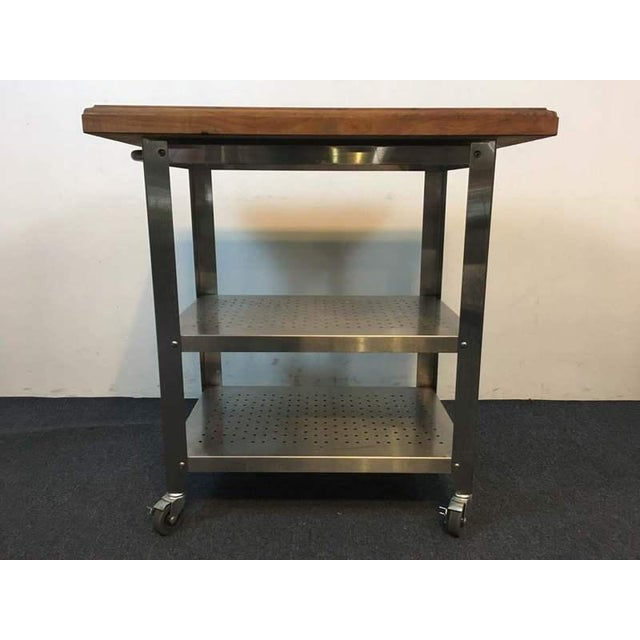Contemporary Chrome Rolling Kitchen Island - Image 3 of 6