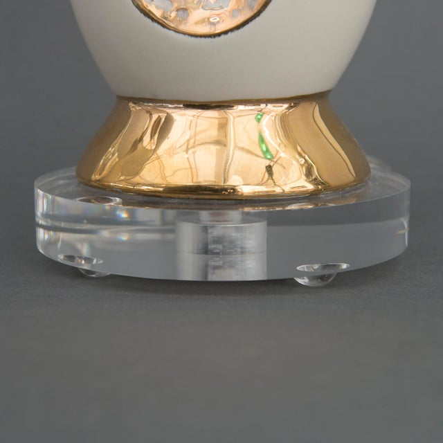 Image of Pair of Danish Creamy White and Gold Table Lamps