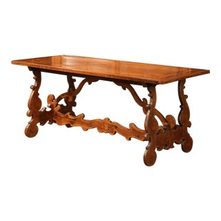 19th Century Italian Carved Walnut Table with Inlay Decorative Accents